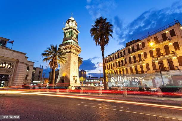 syria, aleppo, bab al-faraj clock tower - syria stock pictures, royalty-free photos & images