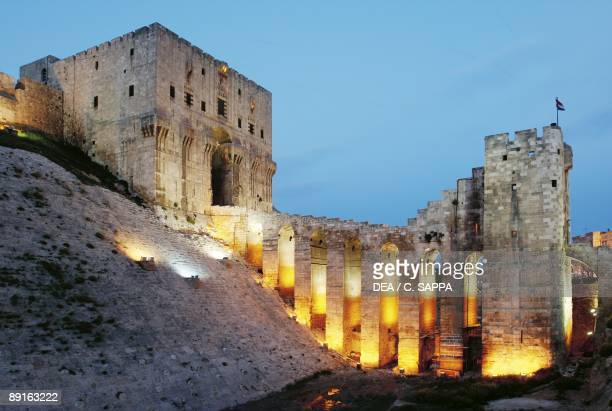 Syria Aleppo Historical Aleppo UNESCO World Heritage List 1986 Citadel 13th century Early evening lights