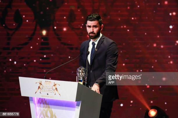 Syria and AlHilal player Omar Khrbin speaks after receiving the Asian Football Confederation Men's Player of the Year award at the AFC Annual Awards...