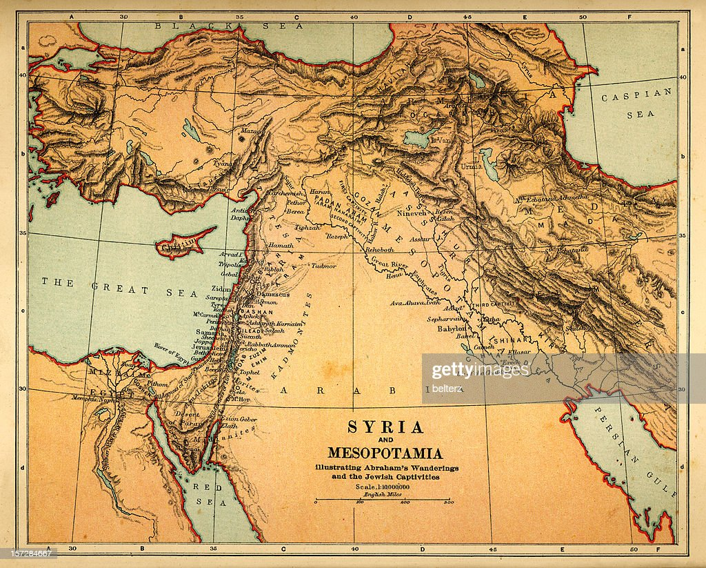 syria and mesopotamia retro map : Stock Photo