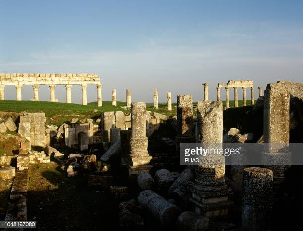 Syria Apamea or Apameia It was an ancient Greek and Roman city Ruins of the Temple of Zeus Belos with Great colonnade in the background Photo taken...