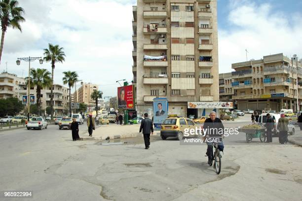 Syria Arab Republic Hama view of customers at roadside market