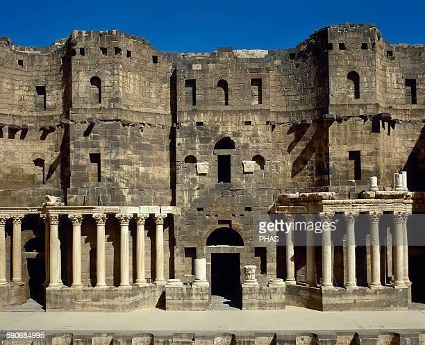 Syria Bosra Roman Theatre Scaenae frons porticus post scaenam and pulpitum Detail
