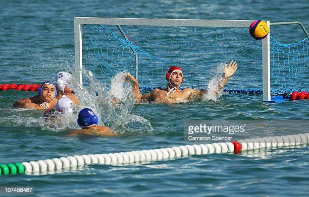 Syria compete against Kazakhstan in the Men Preliminary Group A Match 3 in the Beach Water Polo at AlMusannah Sports City during day two of the 2nd...