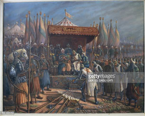 Syria Damascus musee national de damas 12th century surrender of Richard I Lionheart before Saladin after Battle of Hattin