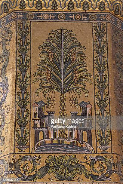 Syria Damascus Old Town Umayyad Mosque Inner Courtyard Built In 705 Ad Mosaic Detail