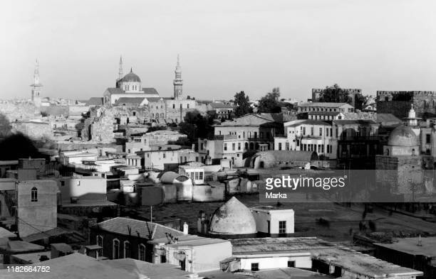 Syria, Damascus, panorama with the great Umayyad Mosque, 1920-30.
