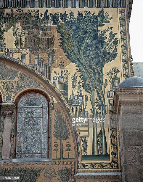 Syria Damascus Umayyad Mosque or Great Mosque of Damascus Built in the early 8th century South entrance decorated with mosaics Detail