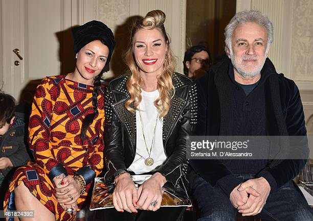 Syria Elenoire Casalegno and Marco Lodola attend the Stella Jean show during the Milan Menswear Fashion Week Fall Winter 2015/2016 on January 20 2015...