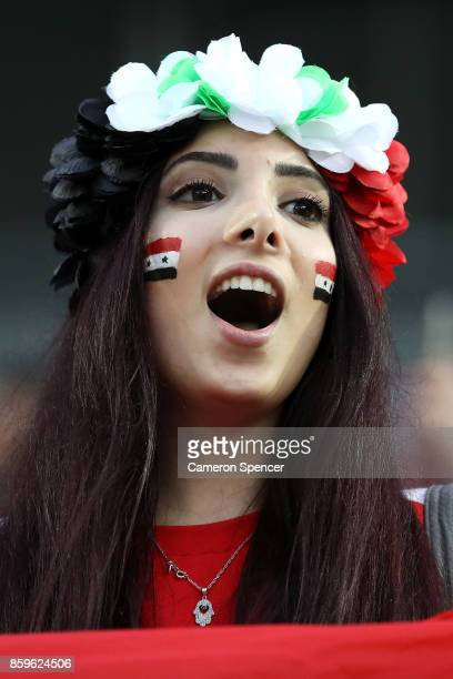 Syria fan shows her colours during the 2018 FIFA World Cup Asian Playoff match between the Australian Socceroos and Syria at ANZ Stadium on October...