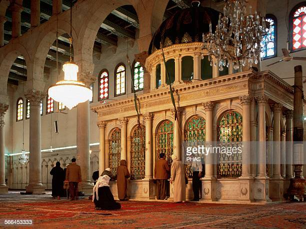 Syria Great Mosque of Damascus 8th century Prayer hall or Haram Stresses the marble mausoleum who marks the place where the head of Saint John the...