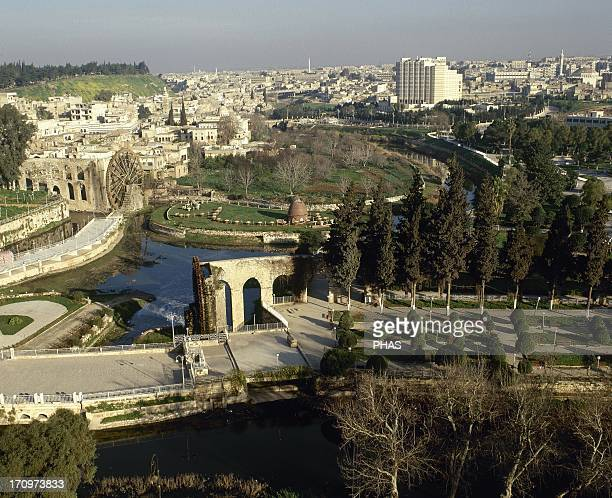 Syria Hama General view and the noria in the Orontes river