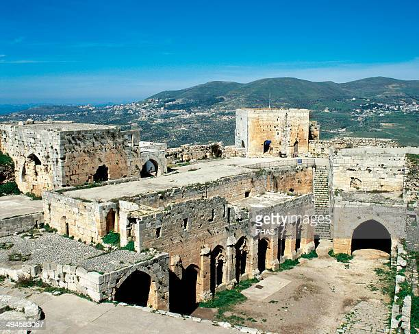 Syria Krak des Chevaliers Castle built in the twelfth century by the Knights Hospitaller during the Crusades to the Holy Land Room of receptions and...