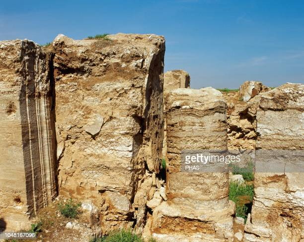 Syria Near Salhiyah Dura Europos Hellenistic Parthian and Roman city Ruins of the Temple of Artemis Photo taken before the Syrian Civil War The...