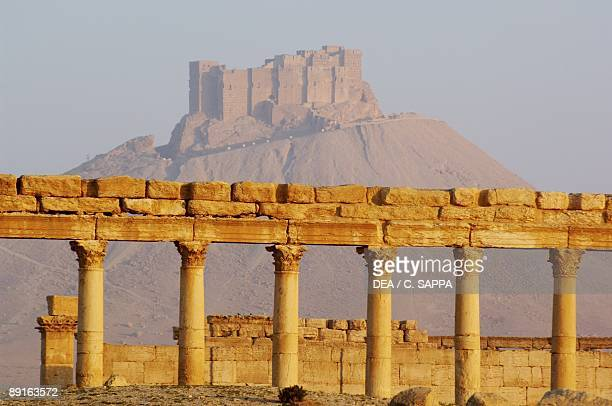 Syria Palmyra Ancient Palmyra UNESCO World Heritage List 1980 Ruins of city 1st2nd century AD and Arab fortification Qal'at ibn Ma'an in the...