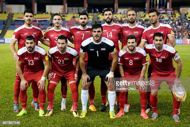 Syria poses during the 2018 FIFA World Cup Asian Playoff match between Syria and the Australia Socceroos at Hang Jebat Stadium on October 5 2017 in...