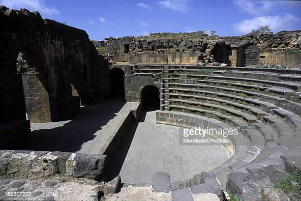Syria Shahba Philippopolis Detail View of the theatre from the bleachers to the cavea and the proscaenium rebuilt by the emperor Philip the Arab born...
