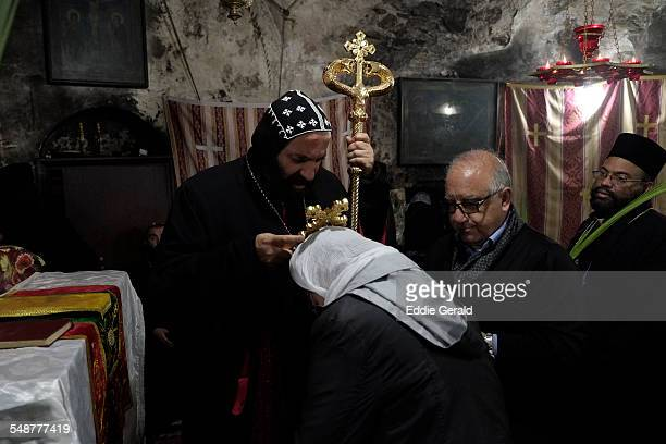 Syriac Orthodox worshipers taking part in a procession on Lazarus Saturday at the Church of Holy Sepulchre in old city Jerusalem Israel 4th April...