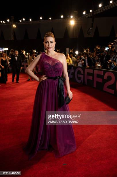 Syrian actress Nesreen Tafesh arrives at the opening ceremony of the 4th edition of El Gouna Film Festival, in the Egyptian Red Sea resort of el...