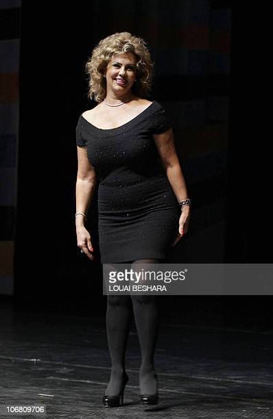 Syrian actress Salma alMasri attends the final evening of the Damascus International Film Festival in the Syrian capital on November 13 2010 AFP...