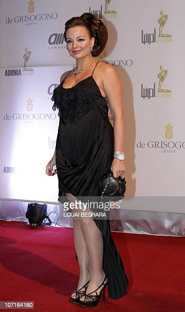 Syrian actress Tulin Bakri arrives to attend the Adonia Awards party in Damascus late on November 26 2010 AFP PHOTO/LOUAI BESHARA