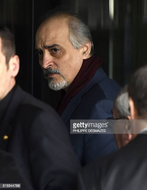 Syrian Ambassador to the United Nations and Head of the Government delegation Bashar alJaafari arrives for the second round of Syrian peace talks in...