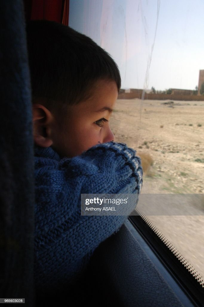 Syrian Arab Republic, Inland Syria, close-up of a preschooler contemplating : ニュース写真