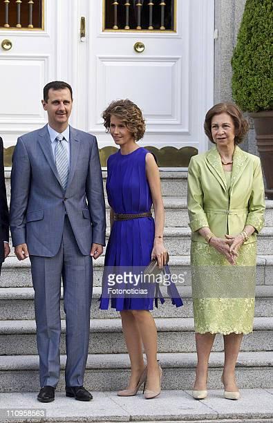 Syrian Arab Republic President Bashar alAssad his wife Asma alAssad and Queen Sofia of Spain pose for photographers at Zarzuela Palace on July 4 2010...
