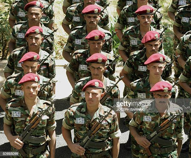Syrian army special forces prepare for tomorrow's farewell ceremony at the Rayaq Lebanese military airport near the Syrian border 25 April 2005...
