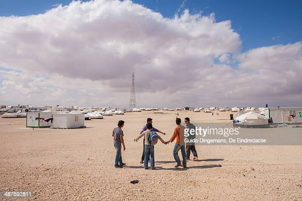 Syrian boys at Zaatari refugee camp in Jordan
