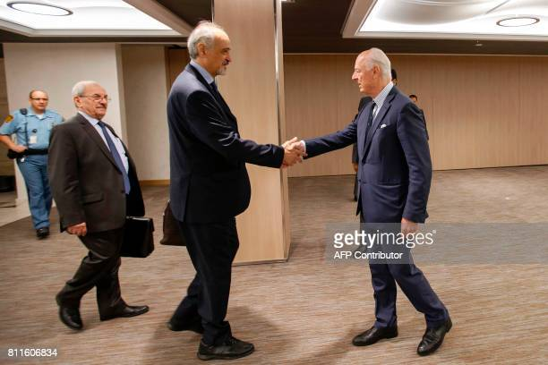 Syrian chief negotiator and Ambassador of the Permanent Representative Mission of Syria to the United Nations Bashar al-Jaafari and UN Special Envoy...