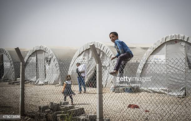 Syrian child enjoys behind wire nettings in Suruc district of Sanliurfa, Turkey on May 28, 2015. Syrian refugees fled their home due to the civil war...