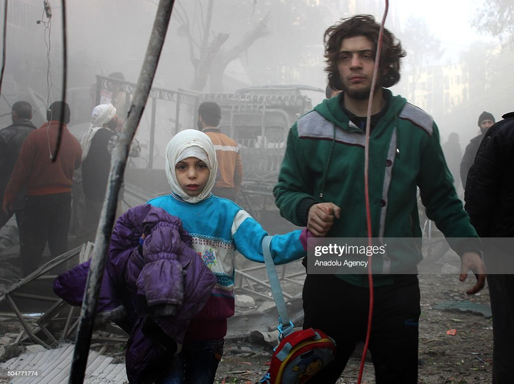 Russian airstrikes target a school in Aleppo : News Photo