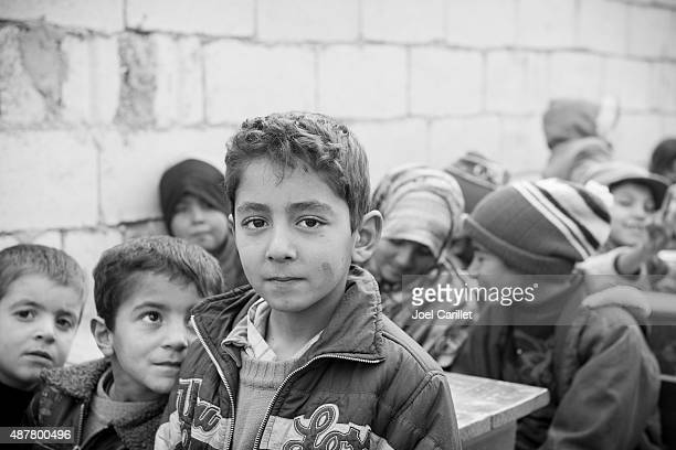 Syrian children in refugee camp