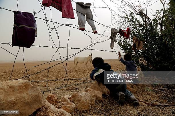 Syrian children look at a donkey from behind the fence at a temporary refugee camp in the village of Ain Issa, housing people who fled Islamic State...