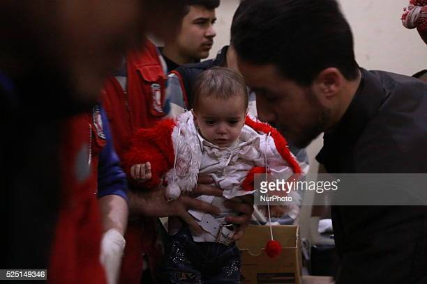 Syrian children received vaccinations against polio during a campaign organized by the Syrian Arab Red Crescent in the Opposition areas of Eastern...