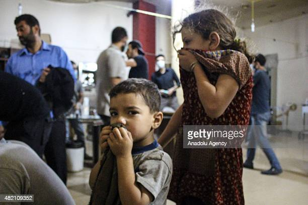 Syrian children receives treatment at a field hospital following a chlorine gas attack by Assad regime forces in Ayn Tarma town of Damascus Syria on...