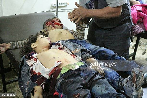 Syrian children's bodies are seen at the Sahra hospital after Assad Regime forces carried out an artillery attack to a preschool in Damascus Syria on...