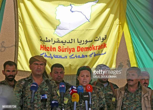 Syrian Democratic Forces spokesperson Lilwa alAbdallah holds a press conference to announce the launch of a military campaign against the Islamic...