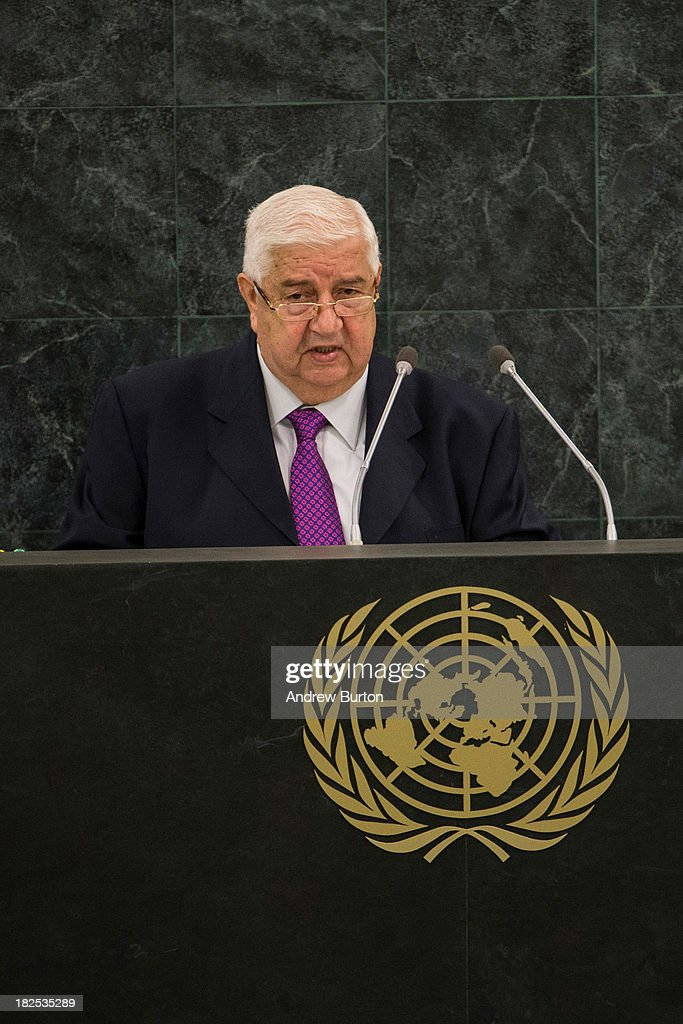 Syrian Deputy Prime Minister Walid Almoualem speaks during the 68th United Nations General Assembly on September 30, 2013 in New York City. Over 120 prime ministers, presidents and monarchs are gathering this week for the annual meeting at the temporary General Assembly Hall at the U.N. headquarters while the General Assembly Building is closed for renovations.