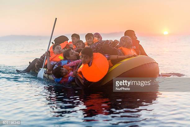 Syrian family arriving on 30th August 2015 in Kos Island Greece Kos on the brink as Mediterranean refugee crisis continues with many boats arriving...