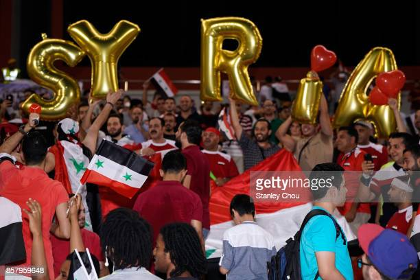 Syrian fans during the 2018 FIFA World Cup Asian Playoff match between Syria and the Australia Socceroos at Hang Jebat Stadium on October 5 2017 in...