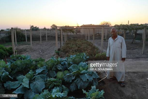 Syrian farmer Hajji Mohammed speaks during an interview at his home in the countryside of the northeastern town of Qahtaniyah, on September 19, 2021....