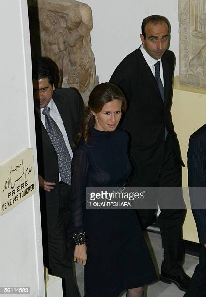 Syrian First Lady Asma alAssad arrives at the national museum in Damascus 07 November 2005 where she received the Paestum Archeologia award prsented...
