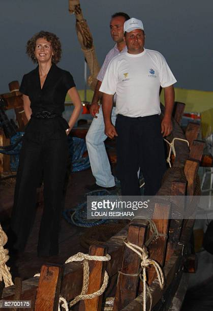 Syrian First Lady Asma alAssad attends the launching ceremony of a replica of a Phoenician ship built on the Syrian island of Arwad some three kms...