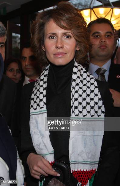 Syrian First Lady Asma alAssad poses with Emine Erdogan wife of Turkish Prime Minister Recep Tayyip Erdogan at a meeting of spouses of the heads of...