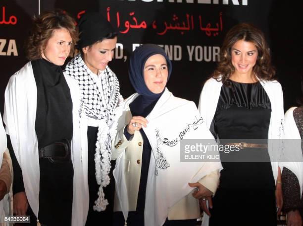 Syrian First Lady Asma alAssad Queen Rania of Jordan second wife of Qatar's Sheikh Hamad bin Khalifa Al Thani and Emine Erdogan wife of Turkish Prime...