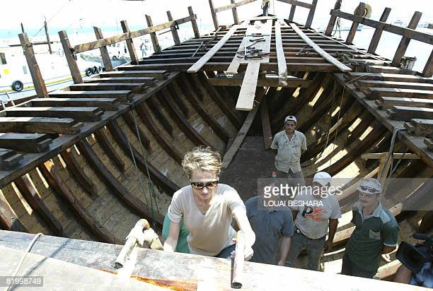 Syrian First Lady Asma alAssad visists a replica of a Phoenician ship being built on the Syrian island of Arwad some 3 kms off the Mediterranean...