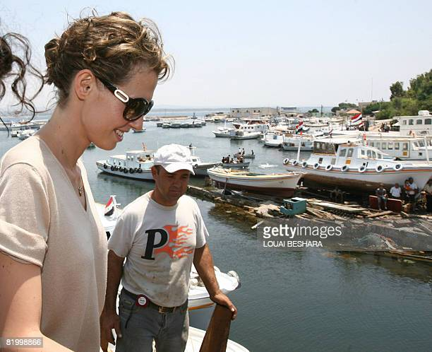 Syrian First Lady Asma alAssad visits a replica of a Phoenician ship being built on the Syrian island of Arwad some 3 kms off the Mediterranean...