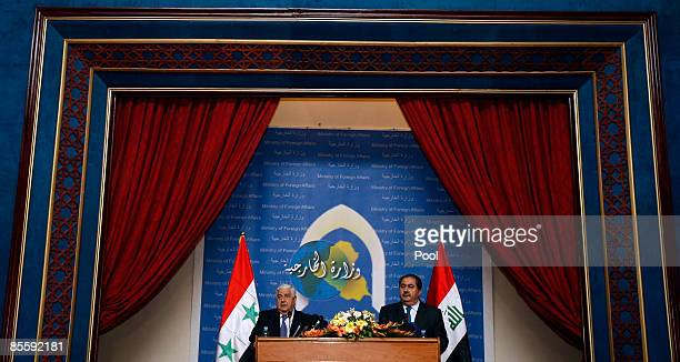 Syrian Foreign Affairs Minister Walid Muallem and his Iraqi counterpart Hoshyar Zebari hold a press conference after their meeting on March 25 2009...